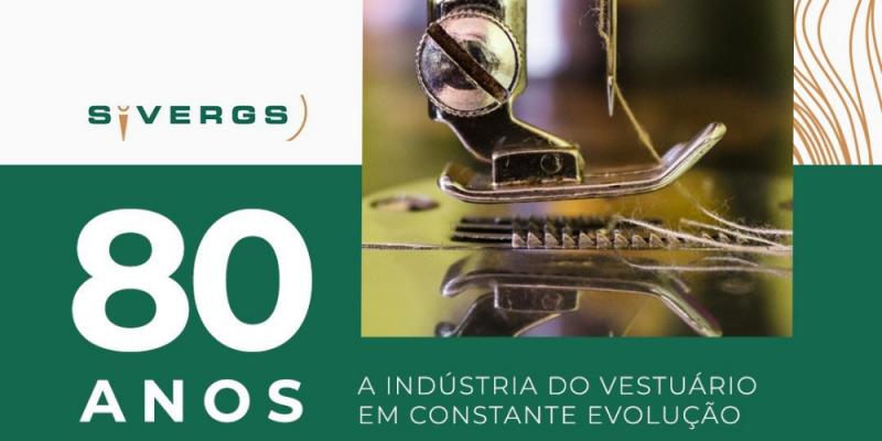 card comemorativo aos 80 anos do Sivergs, Fundo verde, escrito em branco com desenho de uma máquina de costurt