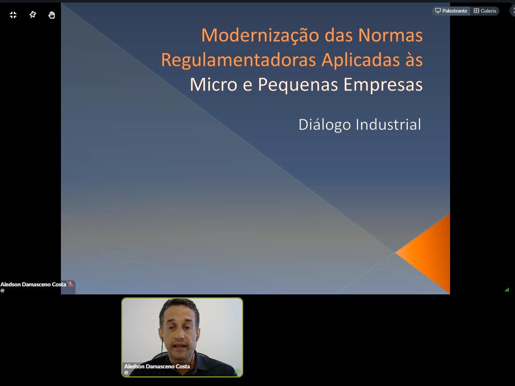Quadro preto com um quadro cinza escrito Modernização das Normas Regulamentadoras aplicadas às micro e pequenas empresas