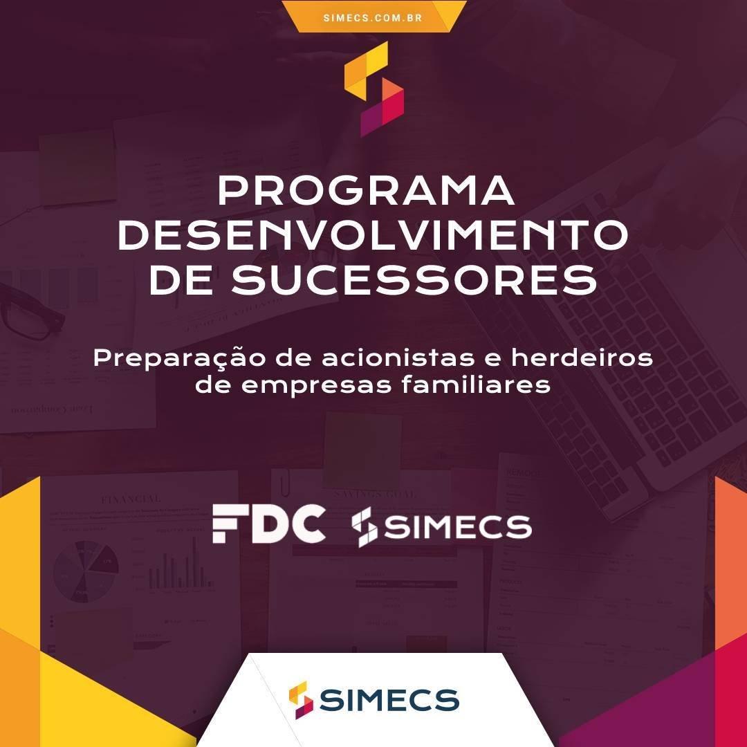 Imagem de divulgação de um curso de capacitação de sucessores de empresas do Simecs, de Caxias do Sul.