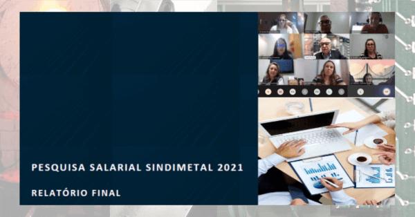 Imagem da apresentação on-line dos resultados da pesquisa salarial do Sindimetal-RS quadro roxo e, no canto direito, acima, imagens dos participantes da apresentação